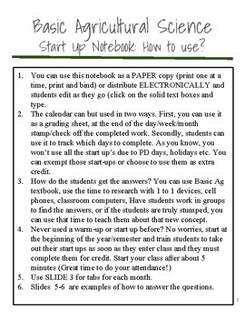 Basic Agricultural Science Start Up Notebook