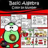 BUNDLE Mexican Food themed math worksheets | Basic Algebra Color by Number