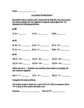 Basic Algebra Multiplication Worksheet