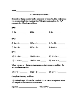 Basic Algebra Multiplication Worksheet
