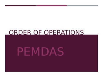 Basic Algebra - Order of Operations;PEMDAS