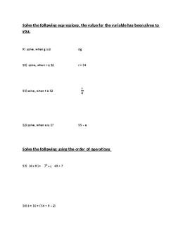 Basic Algebra Quiz