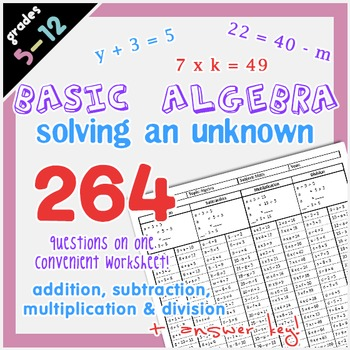 Basic Algebra - Solving an Unknown