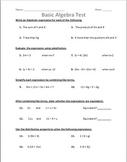 Basic Algebra Test