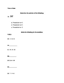 Basic Algebra Unit Assessment