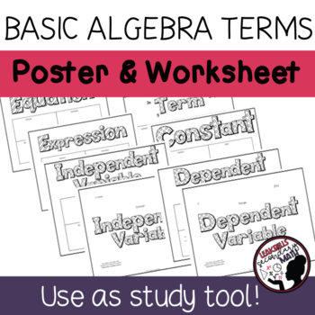 Basic Algebra Vocabulary Posters and Worksheets
