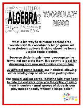 Basic Algebra Vocabulary Bingo