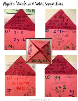 Basic Algebra Vocabulary Foldable