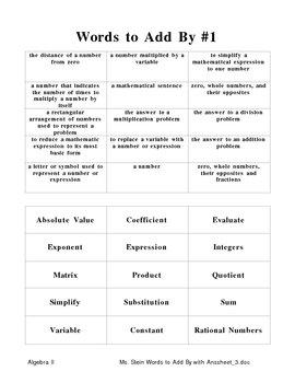 Basic Algebra Vocabulary Folder Activity