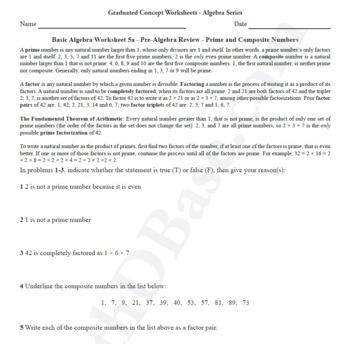 Basic Algebra Worksheet 5a Pre Algebra Review Prime And