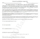 Basic Algebra Worksheet 5a - Pre-Algebra Review - Prime an
