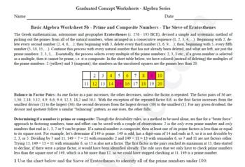 Basic Algebra Worksheet 5b - Prime & Composite Nos. - The Sieve of Eratosthenes