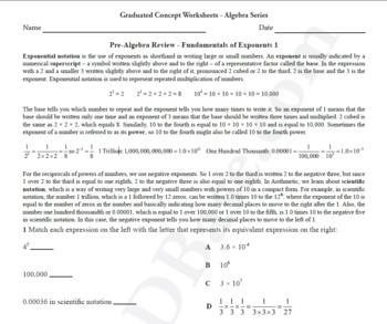 Basic Algebra Worksheet 6 – Pre-Algebra Review - Fundament