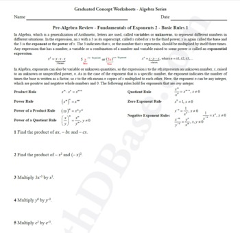 Basic Algebra Worksheet 7 - Pre-Alg Rev. - Funds. of Exponents 2 - Basic Rules 1