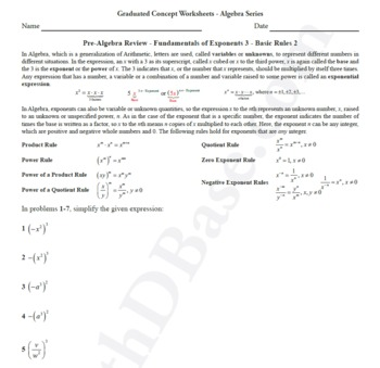 Basic Algebra Worksheet 8 - Pre-Alg Rev. - Funds. of Exponents 3 - Basic Rules 2