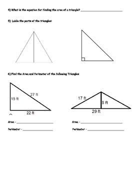 Basic Math Skills - Basic Algebra and Geometry Skills Worksheet