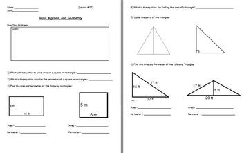 Basic Math Skills - Basic Algebra and Geometry (worksheet included) (POWERPOINT)