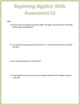 Basic Algebraic Equations Skills Assessment (Test)