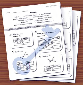 Basic Algebraic Proofs (Letter Work Bank)
