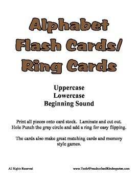 Basic Alphabet Ring Cards - Upper Case, Lower Case and Beginning Sound Cards