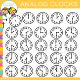 Basic Analog Clock Clip Art {Hour and Half-Hour}