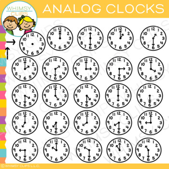 Basic Analog Clock Clip Art {Hour and Half-Hour}