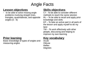 Basic Angle Fact Powerpoint Lesson