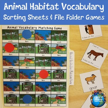 Basic Animal Vocabulary Sorting Sheets and File Folder Game