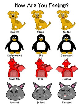 Basic Animals Feelings Chart