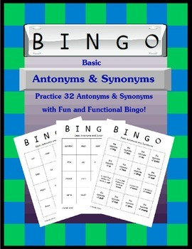 Basic Antonyms and Synonyms Bingo