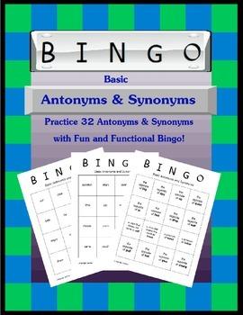 Basic Antonyms and Synonyms Bingo