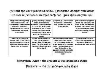 Basic Area and Perimeter Word Problems