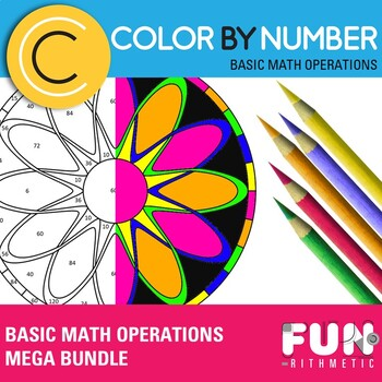 Basic Arithmetic Color by Number Bundle: 10 Essential Skills