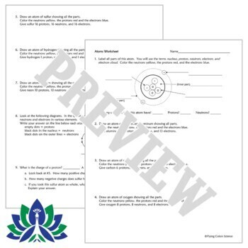 Atomic Composition Atom Worksheet (Protons, Neutrons, Electrons) NGSS MS-PS1-1