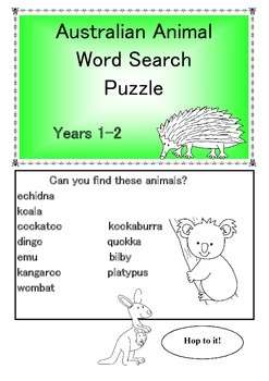 Basic Australian Animal Word Search Puzzle For Young Students