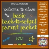 Basic Back to School Editable Parent Packet - Google™ & Distance Learning
