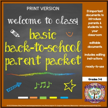Basic Back to School Parent Welcome Packet (Editable)