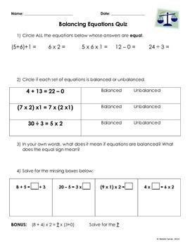 Basic Balancing Equations Quiz