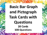 Basic Bar Graph and Pictograph Task Cards (20 Cards) (100 Questions)
