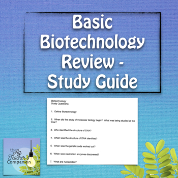 Basic Biotech Review - Study Guide