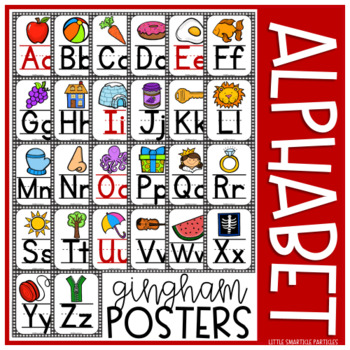 Alphabet Posters Black Gingham