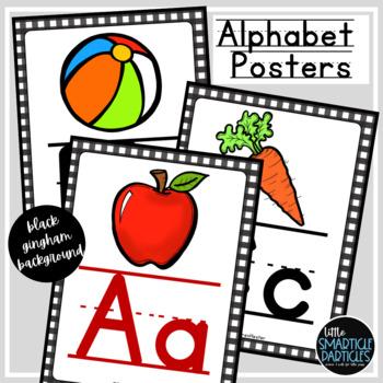 Alphabet Posters - Black Gingham