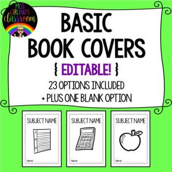 Basic Book Covers {EDITABLE!}