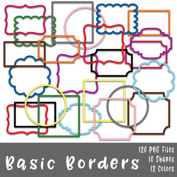 Basic Borders and Frames Clip Art - 120 png files - 10 designs in 12 colors