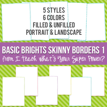 Basic Brights Rectangle Skinny Borders