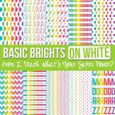 Basic Brights on White Digital Paper Set