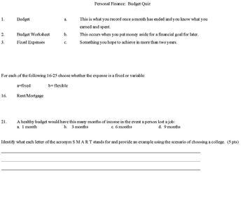 Basic Budget Unit Quiz