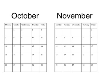 Basic Calendar Reading Log