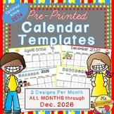 Calendar Templates: to August 2021!