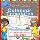 Calendar Templates: to Dec 2020!